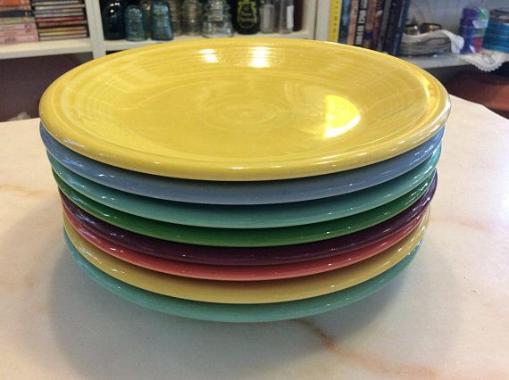 Fiesta ...Set of 8 coloured luncheon plates
