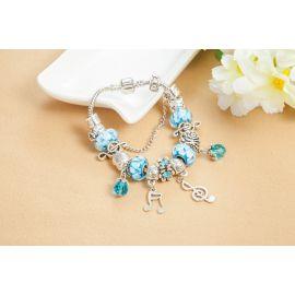 Musical Notation Charms Bracelets for Women Fashion Blue Glass Silver Color Heart Beads Bracelets