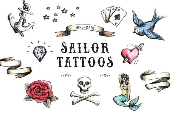 Sailor Tattoos by Marie Ockleford on @creativemarket