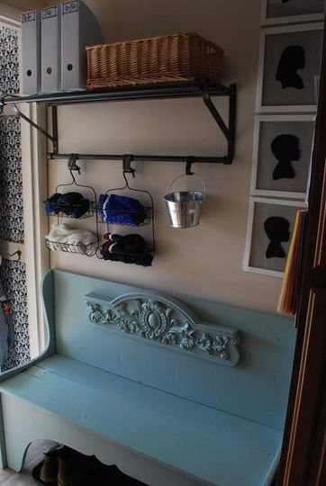 using shower caddies to organize odds + ends in small entryways - brilliant!