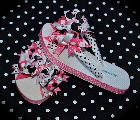 Custom Boutique toddlers Disney Vacation girls Pink Black Princess Wand MINNIE MICKEY MOUSE Birthday Party Ribbon Flip Flops m2m Free Ship. $29.00, via Etsy.