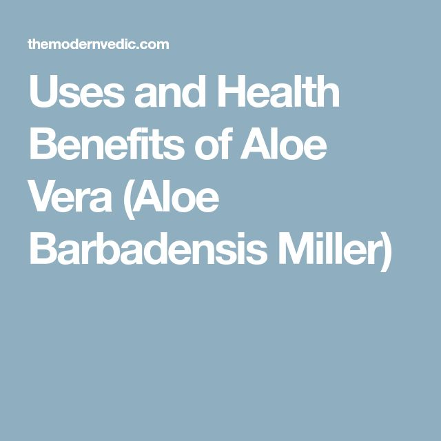 Uses and Health Benefits of Aloe Vera (Aloe Barbadensis Miller)