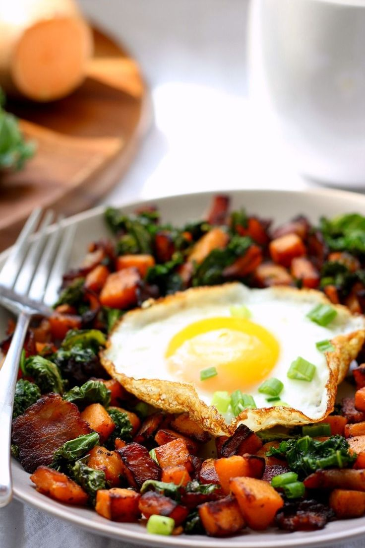 A single serve sweet potato bacon kale hash that's a perfect for a healthy comforting breakfast or any meal! Whole food ingredients, Paleo and Whole30