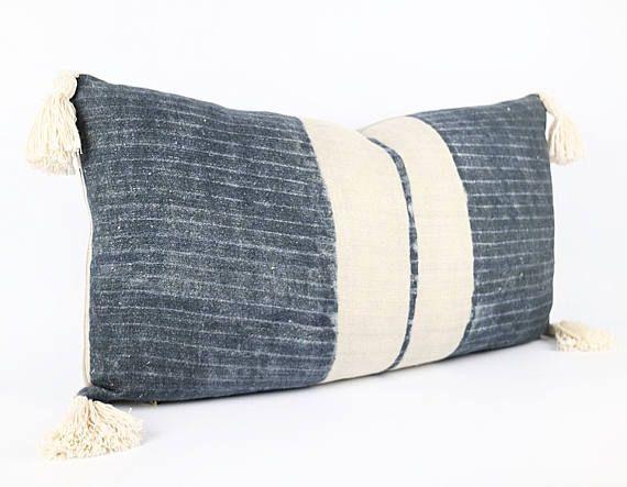 Funda de almohada Lumbar de textiles tribales lino Hmong