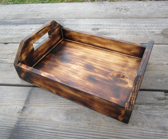 Wood Serving Tray Torched Rustic Kitchen by CountryByTheBumpkins, $45.00
