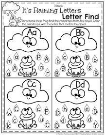 Está lloviendo las letras del alfabeto Reconocimiento Hoja de Trabajo I