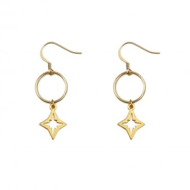 """Compass Earrings in Gold - also available in silver- Get 25% off these earrings with code """"foxypin"""" http://www.foxyoriginals.com/Compass-Earrings-in-Gold.html Tags: gold jewelry, imaginary voyage, compass, earrings, foxy originals"""