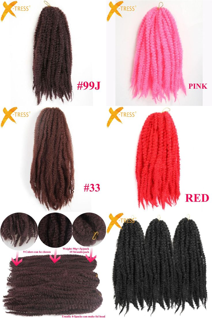 "[Visit to Buy] 18"" Crochet Braids Twist Black Brown Pink Afro Kinky Ombre Braiding Hair Jumbo Marley Kanekalon Heat Resistant Synthetic Hair #Advertisement"