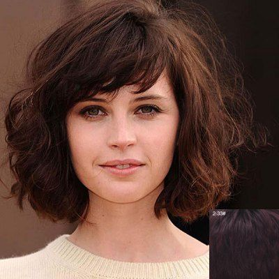 Charming Inclined Bang Shaggy Wavy Trendy Short Capless Real Natural Hair Wig For Women-47.12 and Free Shipping| GearBest.com