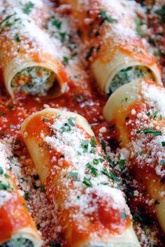 Recipe for Ricotta Spinach Manicotti | DeLallo Recipes #baked #pasta #Italian