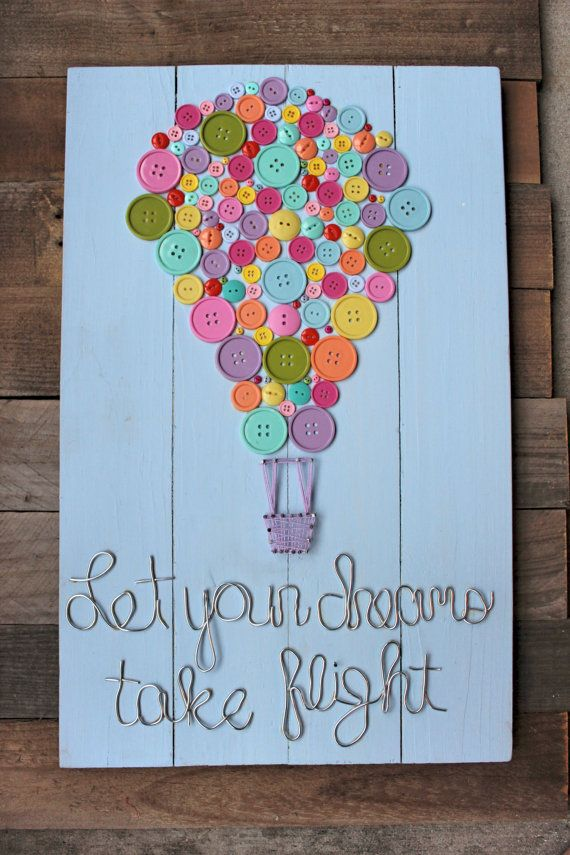 Buttons, hot air balloon, string art, nail and string, wire, unique, dreams, quotes, wood, birthday, holiday, kids room, girls room, best