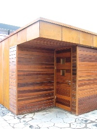 Love this modern sauna design.