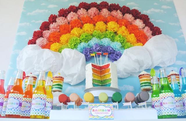 Rainbow Party with pom pom backdrop