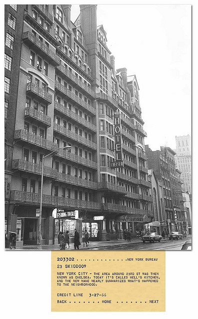 The new owners have RUINED it. We may as well say goodbye now...  The Chelsea Hotel, 23rd St. New York 1966 by stevesobczuk, via Flickr