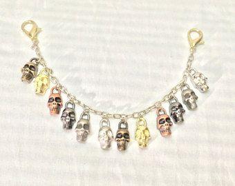 Veelkleurige schedels tas charme sleutelhanger tas decoratie schedels armband schedel charmes