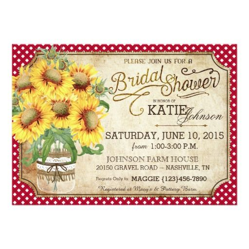 Sunflowers Gingham Country Picnic Bridal Shower