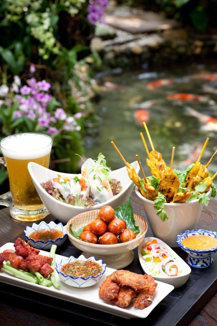 The perfect combination of Thai beer - a set of delicious Asian Tapas at Aqua Bar of Four Seasons Hotel Bangkok