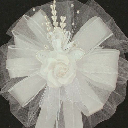 White Rose Pearl Trim Wire Ribbon Wedding Pew Bow on ebay $6.99 plus $12.99 shipping for 22+