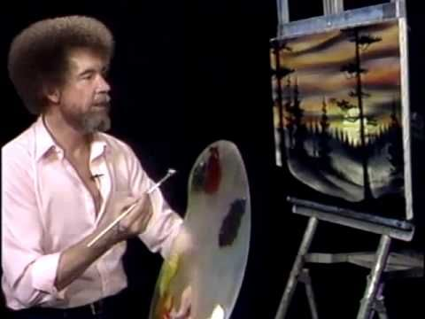bob ross painting evergreens at sunset painting video