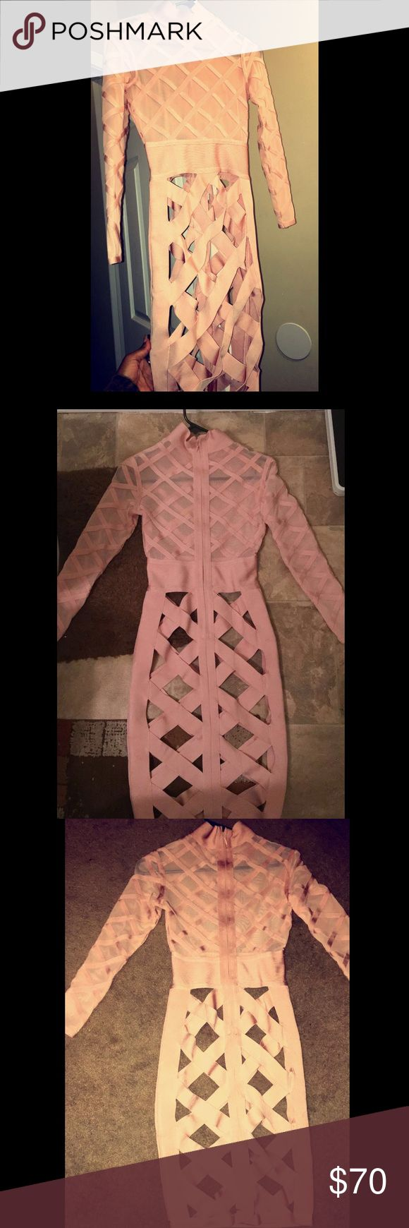 Pink bandage dress Light pink bandage long sleeve slim bodycon dress. This dress was only worn once and can be worn to different party events. I also have the pink bottoms to go underneath the dress. Dresses Midi