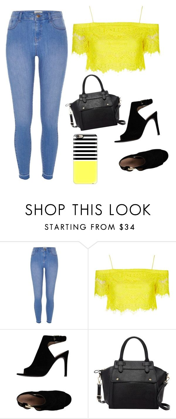 """Untitled #13"" by maffaldacunha on Polyvore featuring River Island, Topshop, Tory Burch, Pink Haley and Casetify"