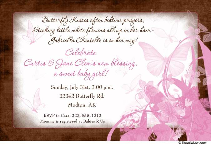 Butterfly Kisses Baby Shower Invitation