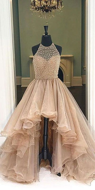 Unique round neck high-low prom dresses for teens, evening dresses