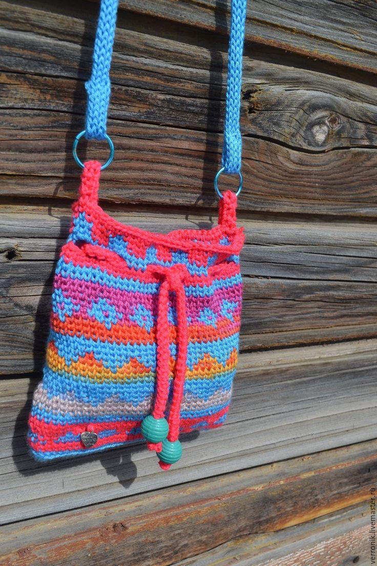 """Купить Вязаная сумка ручной работы """"Радуга"""" Коралловый, голубой - коралловый, сумка, сумочка"""