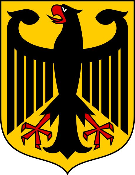 "The coat of arms of Germany displays a black eagle (the Bundesadler ""Federal Eagle"", formerly Reichsadler ""Imperial Eagle"") on a yellow shield (or, an eagle displayed sable). It is a re-introduction of the coat of arms of the Weimar Republic, in use from 1919–1935. It was adopted by the Federal Republic of Germany in 1950. The current official design is due to Tobias Schwab (1887–1967) and was introduced in 1928."