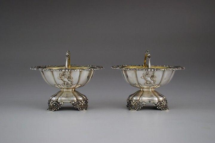 Pair of rare antique French silver double salt cellars, Paris