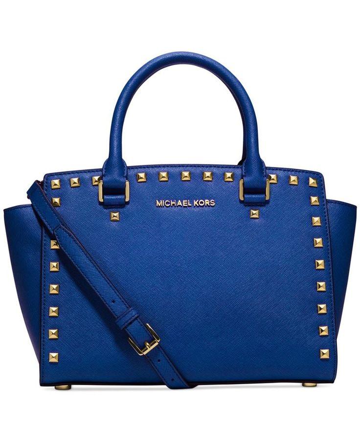 Michael Kors Electric Blue Selma Stud Medium Top Zip Satchel Bag. On sale  in our