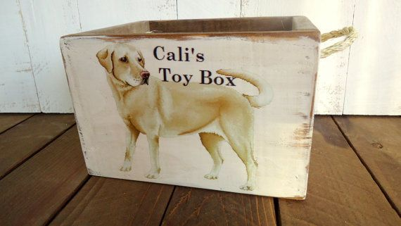 Personalized Country Rustic Dog Toy Box Crate by HainlenCreekCo
