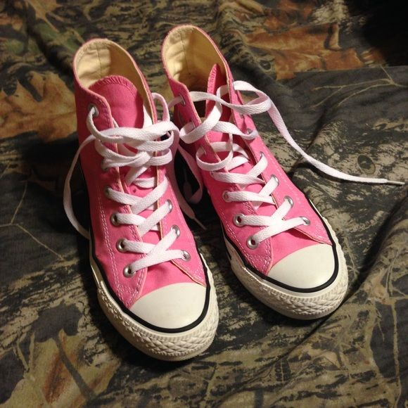 Pink converse high tops!  Adorable pink high top converse! I love these shoes, they are too big for me though! Barely worn at all, as shown in pics. Converse Shoes