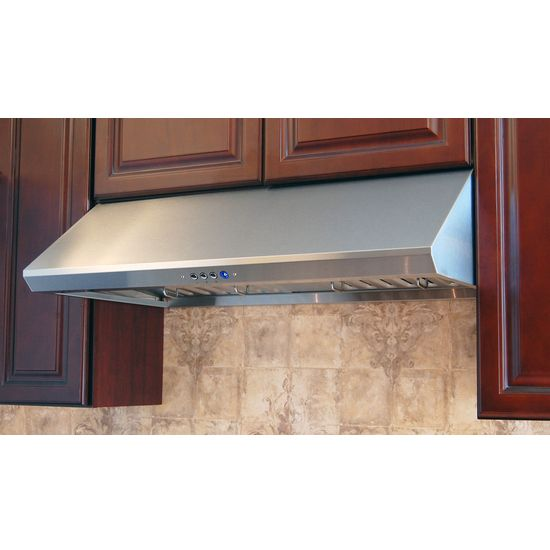 The Windster RA-34 Under Cabinet Range Hood is made of stainless steel and is available in 30 inch , 36 inch , 42 inch or 48 inch sizes. The range hood features a six-speed motor and a high-performance heavy-duty squirrel cage.