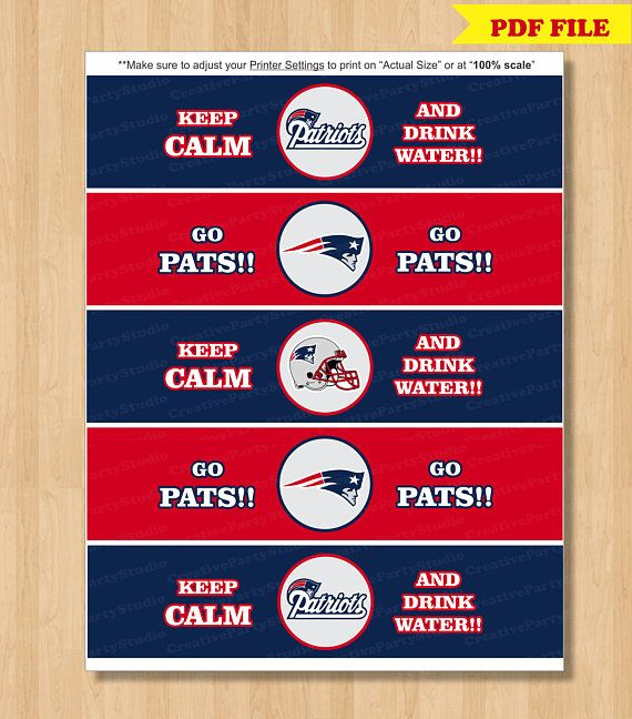 Patriots water bottle labels/ Patriots Superbowl Party Ideas/ Patriots tailgating party ideas/ Patriots DIY party/ superbowl 2018/ Superbowl Party ideas/ superbowl party printables/ decorating for the big game day