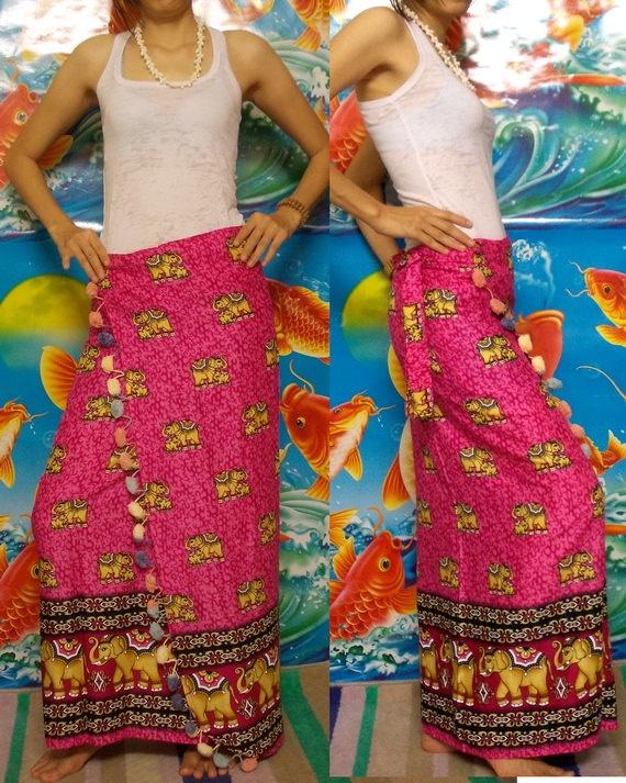 long batik wrap skirt   My Batik Pink Long Wrap Skirt Thai Elephant Batik by HandmadeArt6