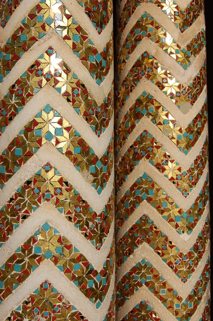 .~Columns decorated with gold mosaics in Monreale Cathedral in Sicily°°