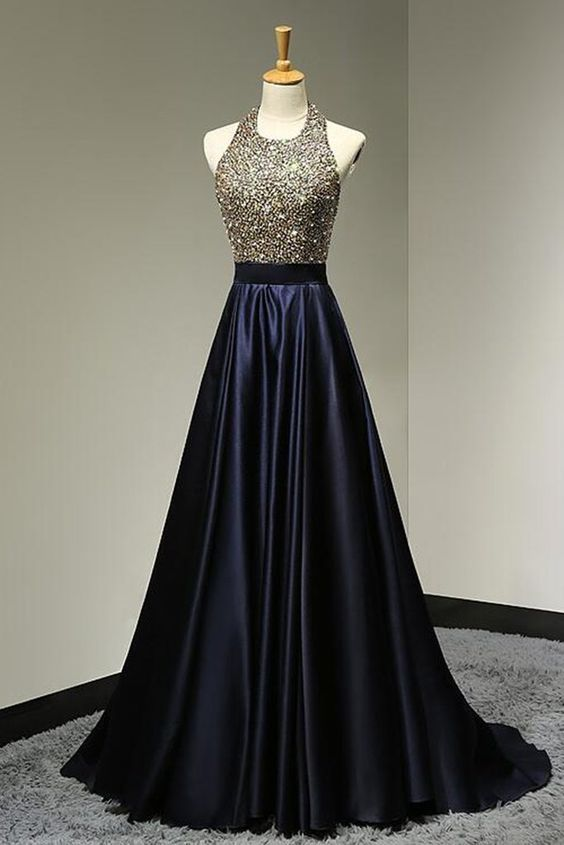 A-line Halter Beaded Bodice Black Satin Prom Dresses,Long Pageant Gowns for 2017 Formal Party,1909