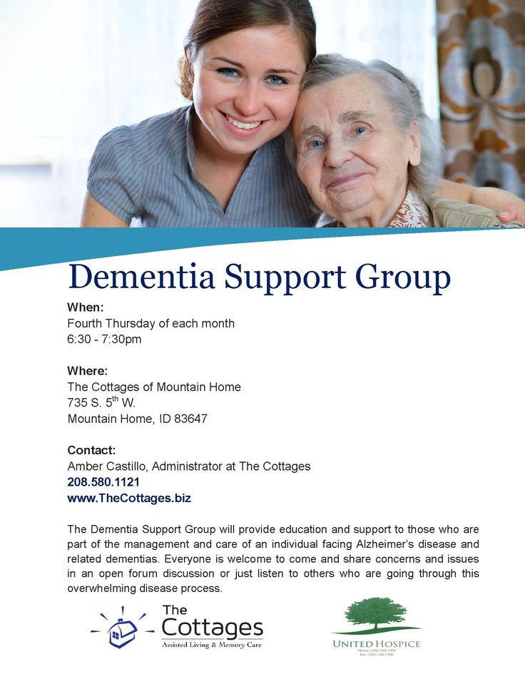 Join The Cottages of Mtn. Home dementia support group held monthly (208) 580-1121 www.thecottages.biz