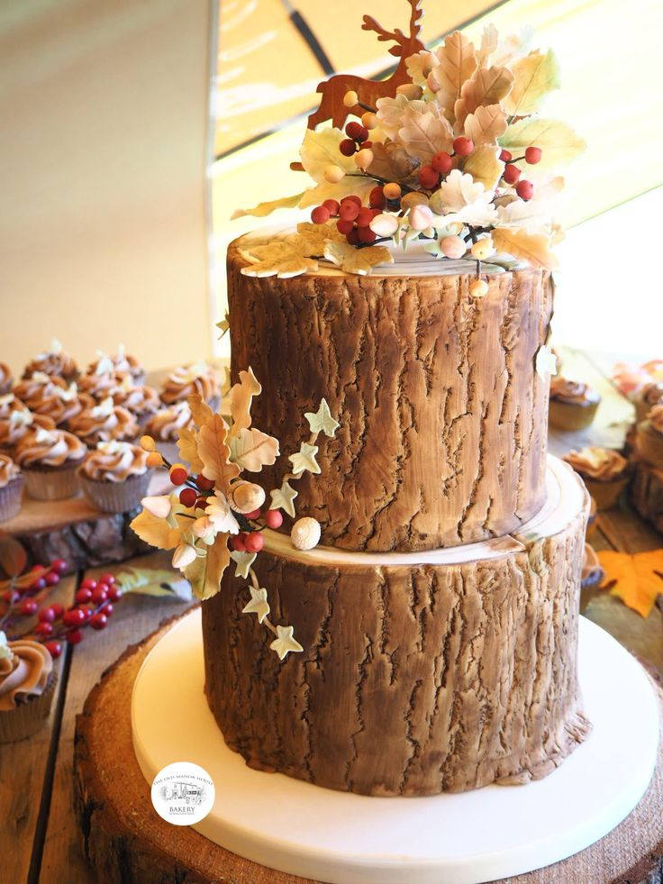Log effect 2 tier wedding cake with autumnal themed sugar