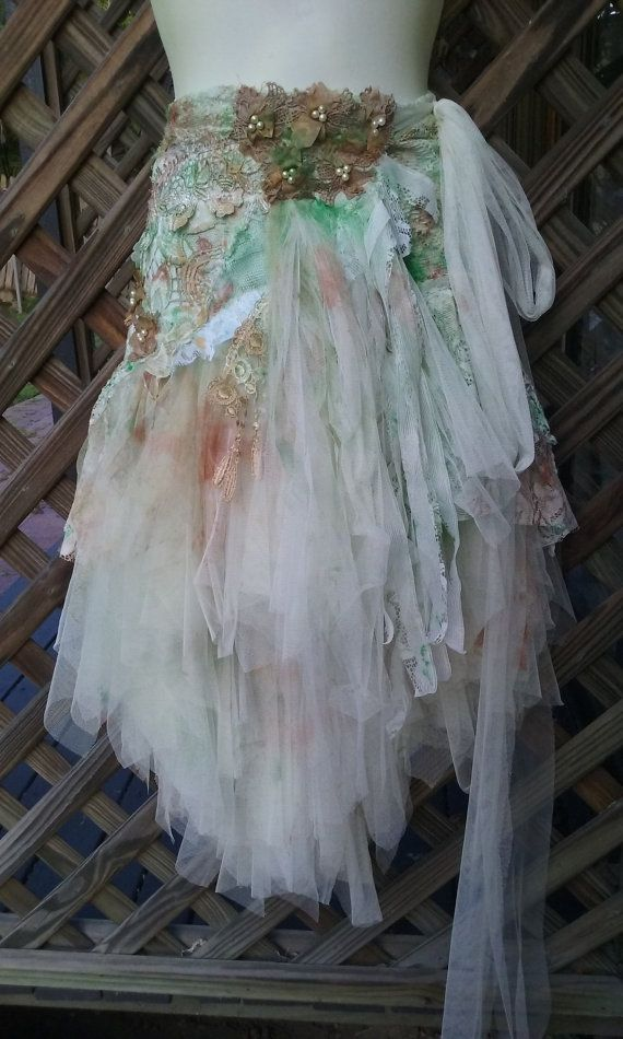 """20% OFF vintage inspired extra shabby wrap skirt/shawl...a work of art 40""""across plus ties..."""
