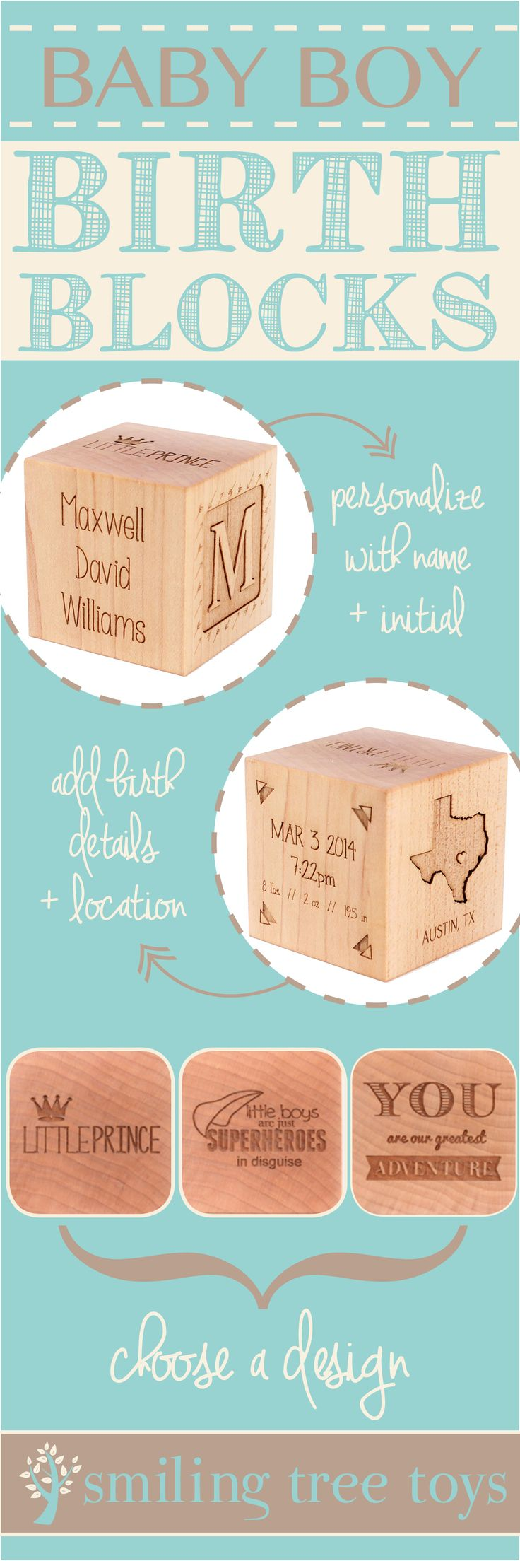Keepsake Boy Birth Block // The perfect personalized, natural, heirloom gift celebrating baby boy's birth // Smiling Tree Toys