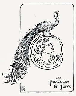"The peacock and Juno by katinthecupboard, via Flickr    Jacob's Aesop's Fables"" by Joseph Jacobs, illustrated by Richard Heighway, from the Macmillan Co., 1902."