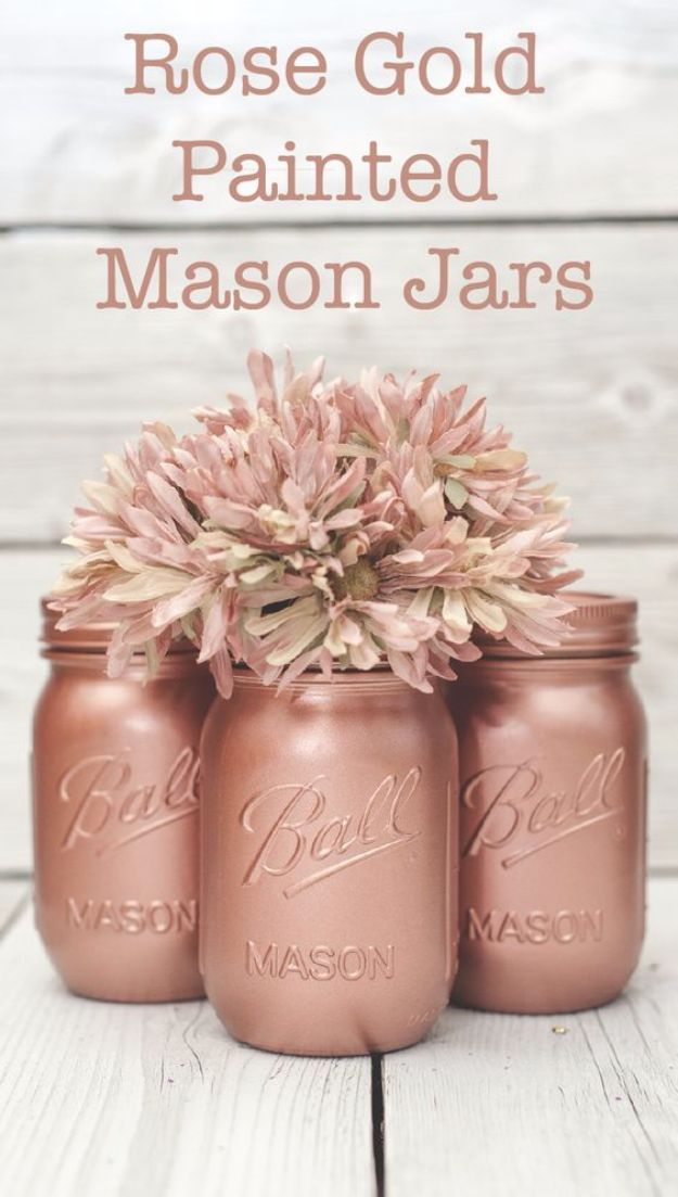 Cute DIY Mason Jar Ideas - Rose Gold Painted Mason Jars - Fun Crafts, Creative Room Decor, Homemade Gifts, Creative Home Decor Projects and DIY Mason Jar Lights - Cool Crafts for Teens and Tween Girls http://diyprojectsforteens.com/cute-diy-mason-jar-crafts