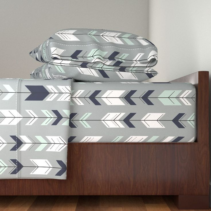 Langshan Sheet Set featuring Fletching Arrow // Northern Lights - Grey by littlearrowdesign | Roostery Home Decor