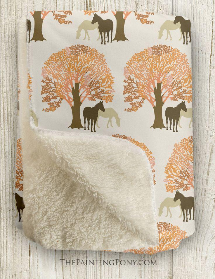 Autumn horses pattern sherpa fleece throw blanket fleece