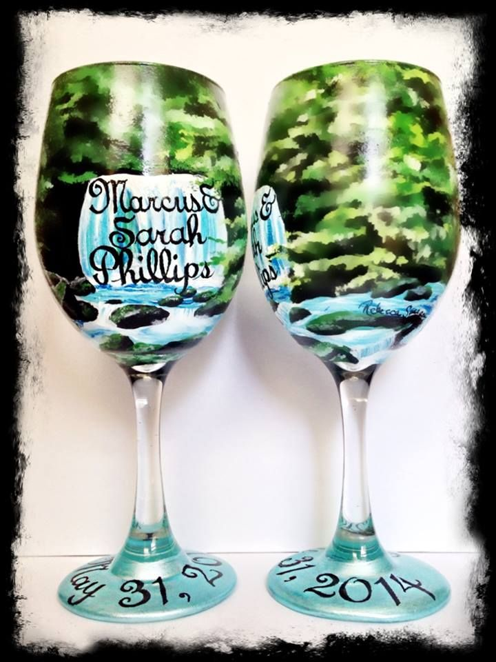 hand painted wine glasses hand painted waterfall wine glasses custom wedding wine glasses email