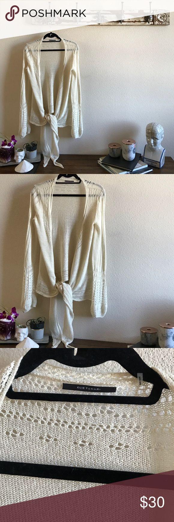 Elie Tahari 100% Linen Low Tie Cardi In perfect condition ❤️ Elie Tahari Sweaters Cardigans