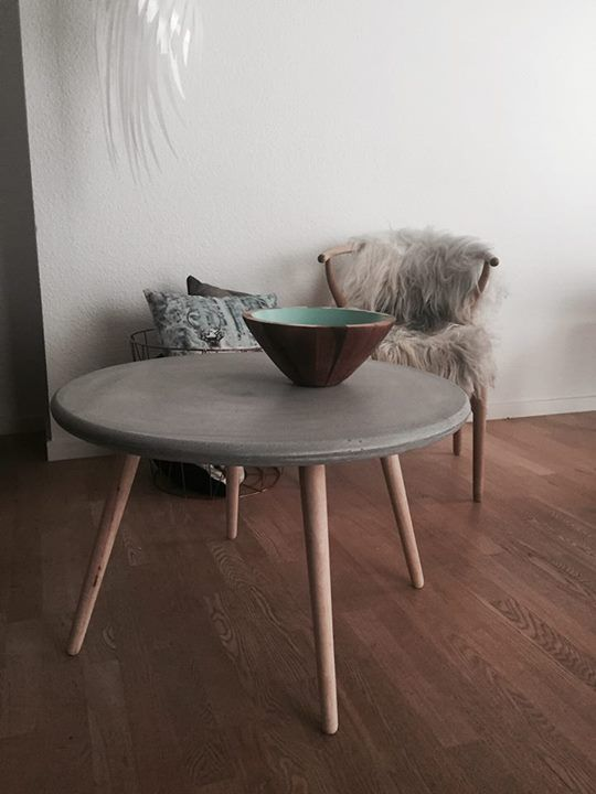 Concrete coffee table with wooden legs #sinnerup