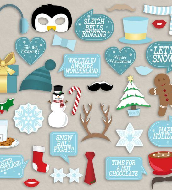 35 Winter Wonderland Photobooth Props Winter Party Props Printable